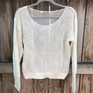 Annabelle white crochet sweater pullover large